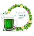 Glass of green beer with coins and clover vector image vector image
