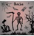 halloween skeleton on a graveyard vector image