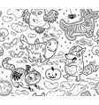 halloween surface pattern with cute cartoon vector image vector image