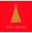 Hanging fir tree with bow Scribble effect Merry vector image vector image