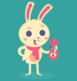 Happy Bunny Holding an Easter Chocolate Egg vector image