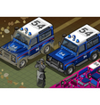 Isometric Police Off Road Vehicle in Front View vector image vector image
