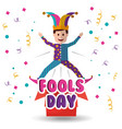 joker jumping jack in the box surprise fools day vector image vector image