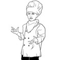 Little chef presenting vector image