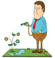 Man watering flowers vector image vector image