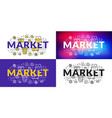 market flat line concept for web banner and vector image vector image