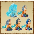 Mermaid in the ice and it thawing stages vector image vector image