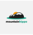 minimalist mountain hippo landscape logo icon vector image vector image