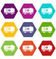 oil railway tank icon set color hexahedron vector image vector image
