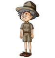 old man in safari outfit vector image