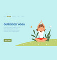 outdoor yoga landing page woman doing exercises vector image