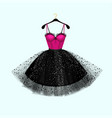 pink and black dress vector image vector image