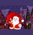 santa in christmas town vector image vector image