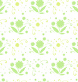 seamless pattern with green flowers and leaves vector image