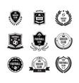 set football badges with shields and balls for vector image