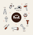 set of tools icons doodle vector image