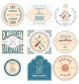 set vintage knitting labels badges and design vector image vector image