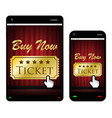 smartphone and tablet with movies ticket on screen vector image vector image
