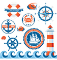 stylized sea emblems vector image