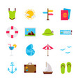 summer travel objects vector image vector image