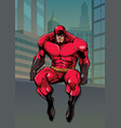 superhero sitting on wall in city vector image vector image