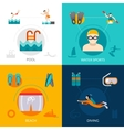 Swimming Flat Set vector image vector image