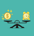 time is money business concept balance scales vector image vector image