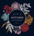 trendy colored autumn wreath design dark blue vector image vector image
