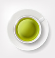 White cup of green tea vector image
