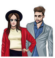 young models with fashion clothes vector image vector image