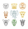 African Animals Heads Masks Line Icons vector image vector image