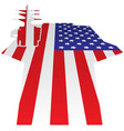 aircraft carrier flight deck american flag vector image vector image