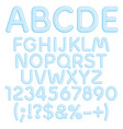 alphabet letters numbers and signs from ice vector image