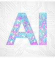 artificial intelligence with circuit board vector image vector image