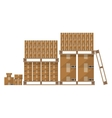 Brown carton box wooden pallet vector image