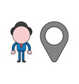 businessman character with map pointer color and vector image vector image