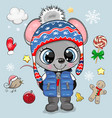 cartoon mouse boy in a knitted hat vector image vector image