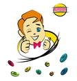 Cartoon nice boy with vitamin pills vector image
