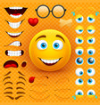 cartoon yellow 3d smiley face character vector image vector image