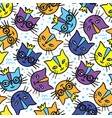colorful cats cartoon seamless pattern vector image vector image