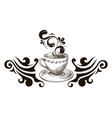 cup of tea black and white vector image vector image