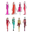 Fashionable girls colorful sketch silhouettes vector image