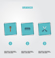 flat icons shears bristle comb and other vector image