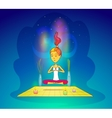 Girl or woman meditating in yoga pose vector image vector image