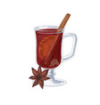 glass hot red mulled wine with winter spices