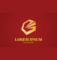 gold polygon letter g logo vector image
