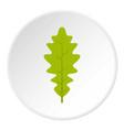 green oak leaf icon circle vector image vector image