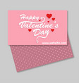 happy valentines day card with pink pattern vector image