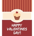 Happy valentines day card with sweet cupcake vector image vector image