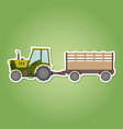 icon with farm tractor and trailer vector image vector image